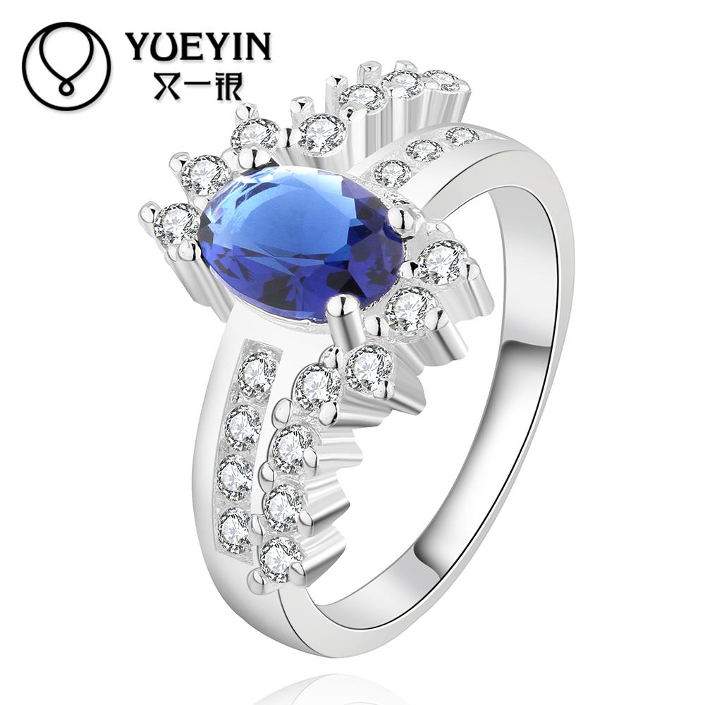 2016 SALE joias silver plated ring aneis Zircon CZ Simulated Diamonds Accessories sapphire Birthday Gifts Engagement Jewelry