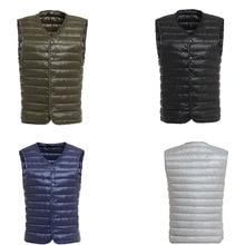 цена на 2019 New Fashion Ultra Light Down Vest Men Spring Autumn Sleeveless Collarless Vest Male Casual Winter White Duck Down Waistcoat