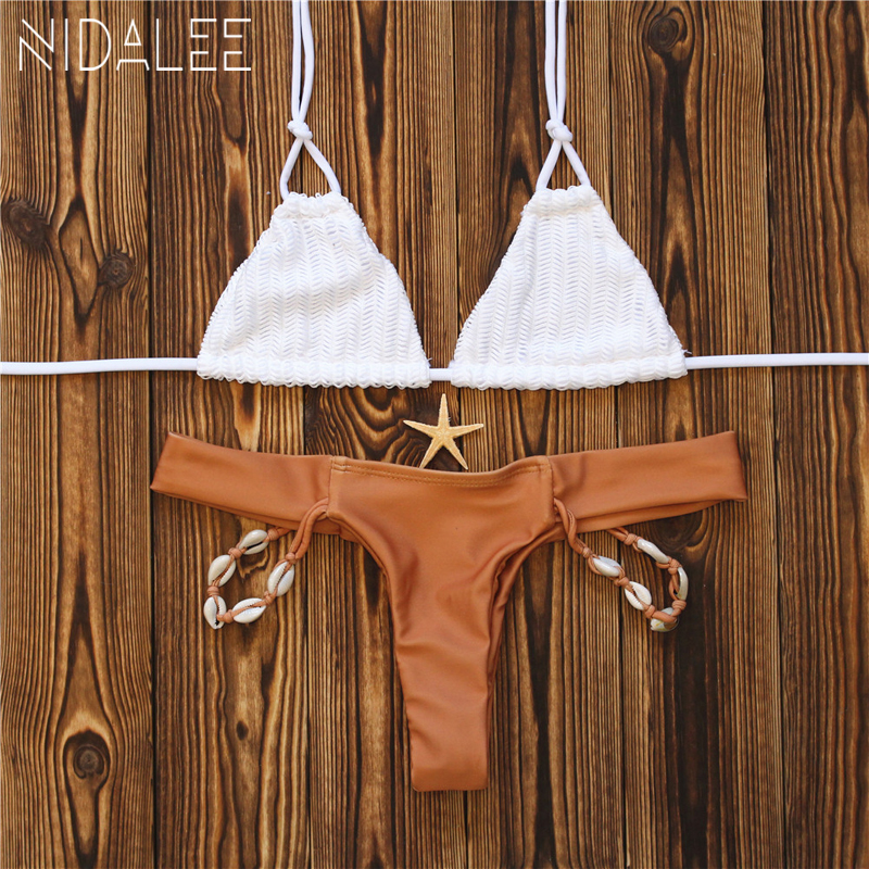 NIDALEE 2017 Handmade Shell Bikini Bandage Tanga Sexy Swim Wear Women Bikini Set Brazilian Swimsuit Girls Swim Suit Ladies Micro kiniki kelly tanga mens