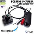 960 p poe câmera ip mini Câmera Mini CCTV Câmera de Rede IP POE 1.3MP Interior 3.6mm Lens ONVIF P2P tamanho 40x40x20mm