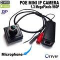 960 p poe mini cámara ip 1.3MP POE Red IP Mini Cámara CCTV de Interior Cámara 3.6mm Lente ONVIF P2P tamaño 40x40x20mm