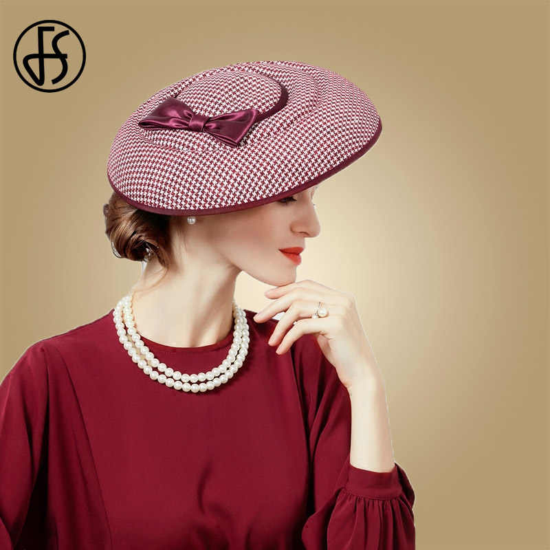 FS Fascinator Hats For Women Houndstooth Red Black Bowknot Felt Hat Pillbox Formal Cocktail Church Wedding Dress Chapeau Fedoras