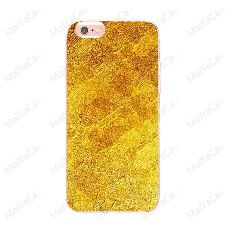 MaiYaCa Vàng Sáng Bóng cho iPhone 8 8 Plus X XS XR XSMax trường hợp TPU Trong Suốt Dành Cho iPhone 5 5S SE 6 6 S 7 7 Plus Ốp lưng điện thoại