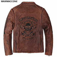 2019 Vintage Brown Skull Pattern Leather Motorcycle Jacket Genuine Thick Cowhide Slim Fit Leather Biker Coat XXXL FREE SHIPPING