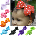 Girl Cute Polka Dot Hair Ribbon Bows Headband Elastic  Hairband