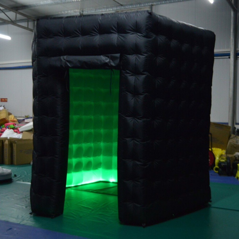 2.5*2.5*2.5m Hexagon Air Photo Booth Professional Inflatable RGB LED Photo Booth Tent Black Single Door Remote Control Tent free shipping 2 5m led lighting inflatable photo booth with window led inflatable photo enclosure tent inflatable cube tent