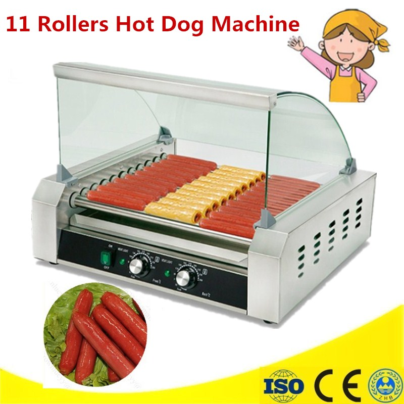 220V Commercial French Muffin Machine 11 Rollers Hot Dog Corn Shaped Lolly Wafer Waffle Makers Kitchen Machines