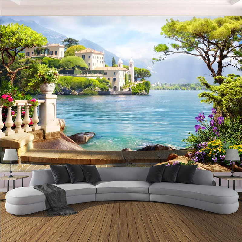 Photo Wallpaper 3D Garden Lake Scenery Murals Living Room TV Sofa Background Wall Painting Modern Home Decor Wall Paper For Wall