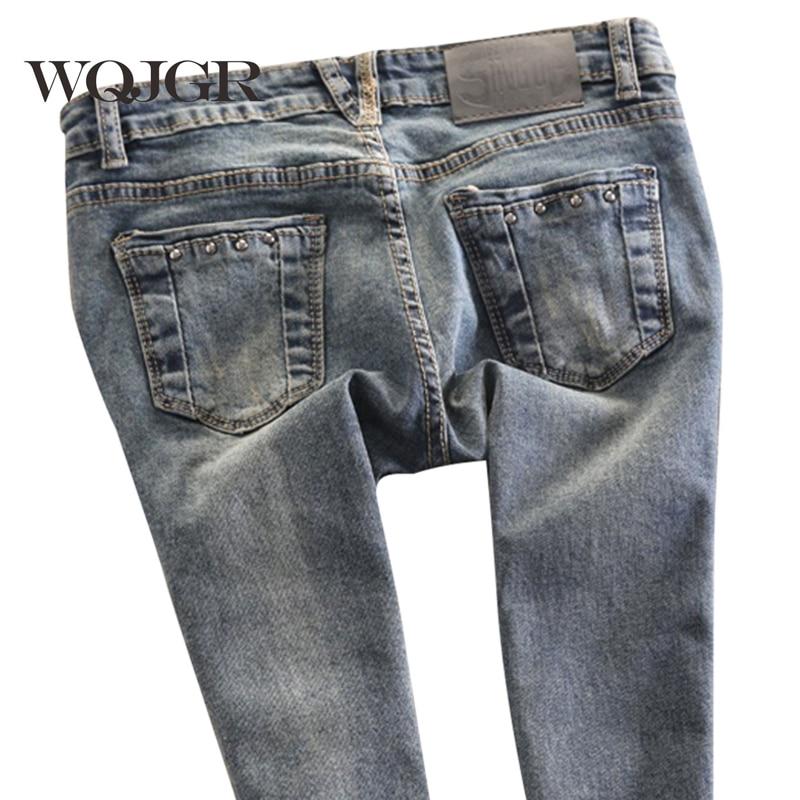 WQJGR kevadel naiste madala talje naised teksad pliiats püksid venitada püksid Slim Korea Tide teksad naistele