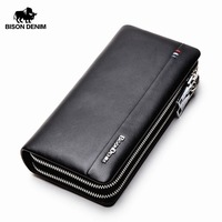BISON DENIM Men Wallet With Coin Pocket Long Wallet Double Zipper Business Genuine Leather Clutch Bag Cowskin Purse Men N8008 2
