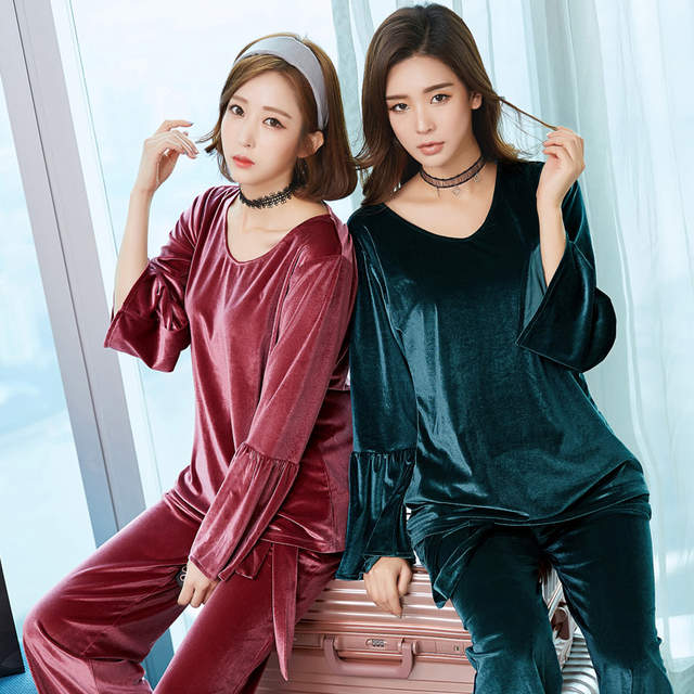 b914187609 placeholder Pajama Sets For Women Winter Velvet Pajamas Lady Night Suit Two  Piece Set Warm Sleepwear Women