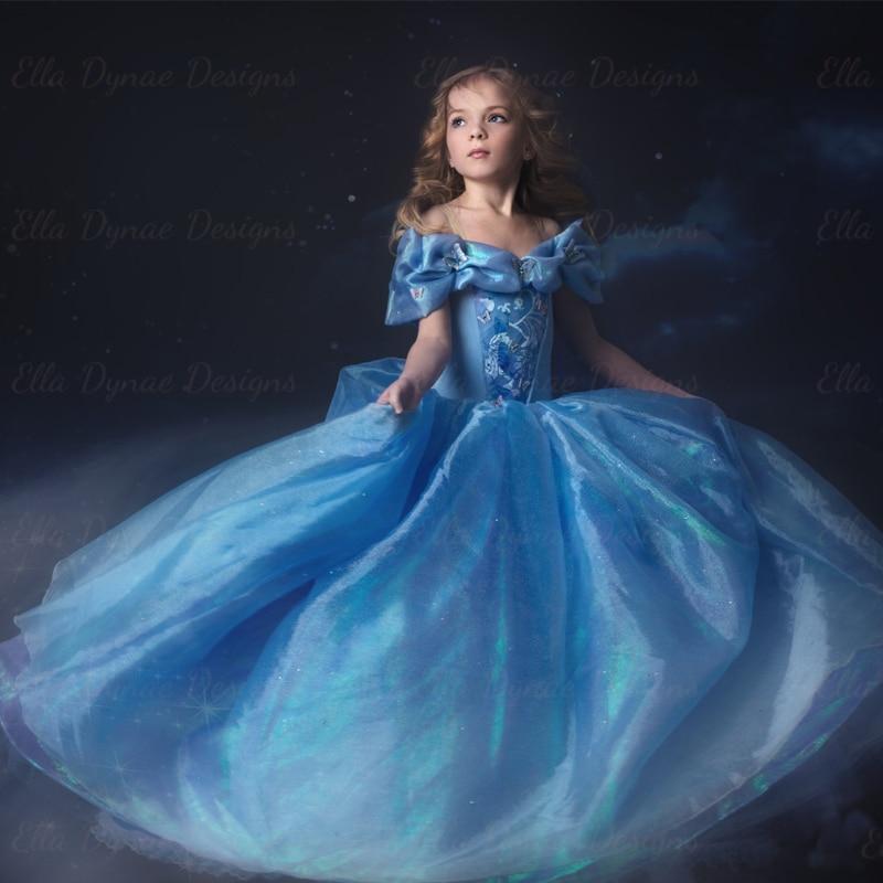 Cinderella Beautiful Long Light Blue Ruffles Puffy Ball Gown Cap ...