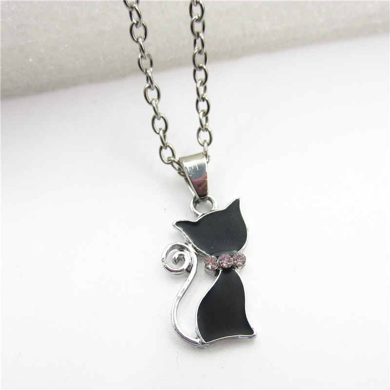 New arrive 1 pcs Fashion Girl Lady Animal Black Cat necklace Jewelry With 50cm Chains Necklace Jewelry Dog Paw Necklace