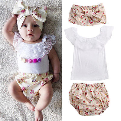 3pcs Baby Girl Lace Tops T-shirt+Floral Short Pant Bottoms Outfits Set Clothes