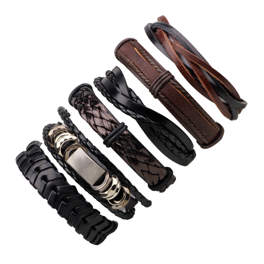 ZIRIS 6pcs 1 Set Punk Genuine Wrap Leather Bracelets Men Men Charm Anchor Bracelets Cuff Jewelry Accessories