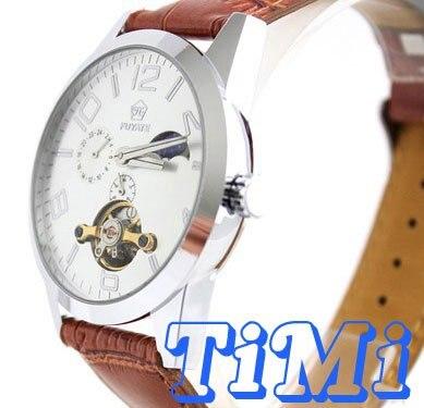 где купить  wholesale Moonphase Automatic Mens Tourbilon 24hrs Watch Leather  по лучшей цене