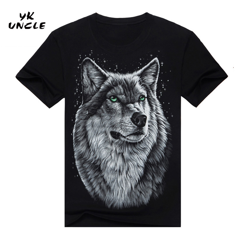 2016 Summer Style Brand Men's Cotton Short Sleeve T-shirt Fashion O-neck Casual Moon Wolf 3D Printed T Shirt M-XXXL,YK UNCLE