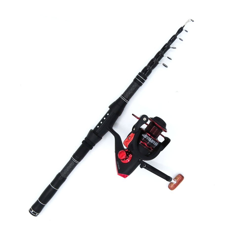 1.8-2.4M rod combo carbon telescopic spinning fishing rod with reel ultralight portable short hard travel rod set boat rock pole(China)