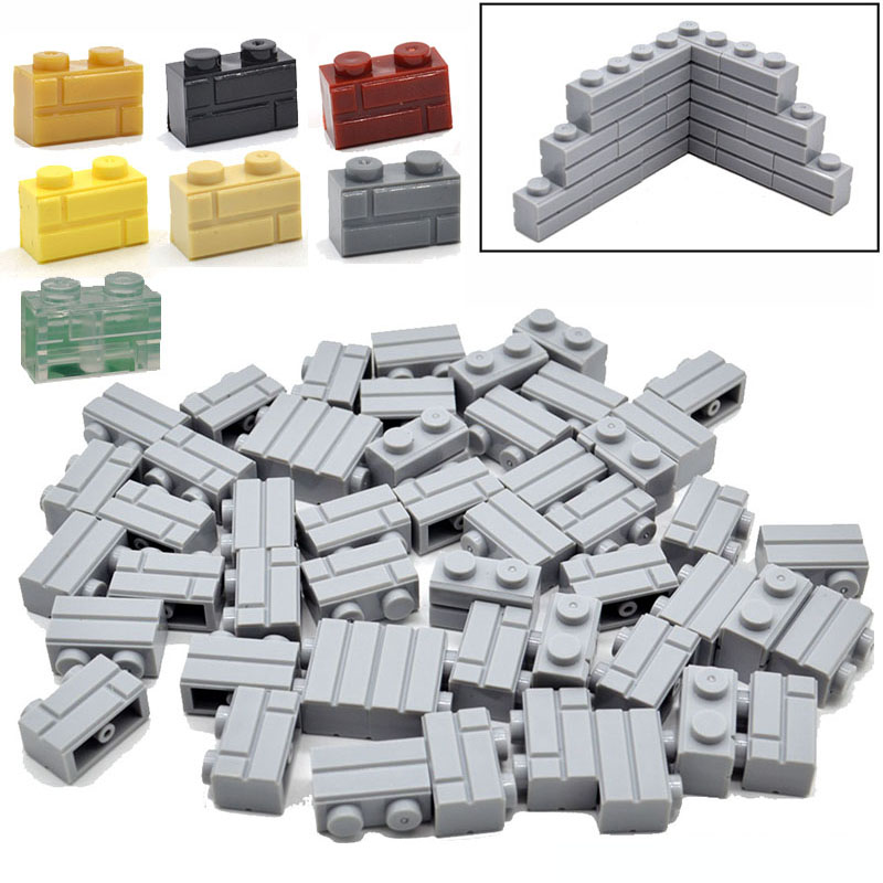 50PCs/Lot 1*2 Bricks Wall Building Blocks Parts Masonry Stone MOC DIY Accessories Kids Compatible with 3004 Toys 32 32 dots plastic bricks the island straight crossroad curve green meadow road plate building blocks parts bricks toys diy