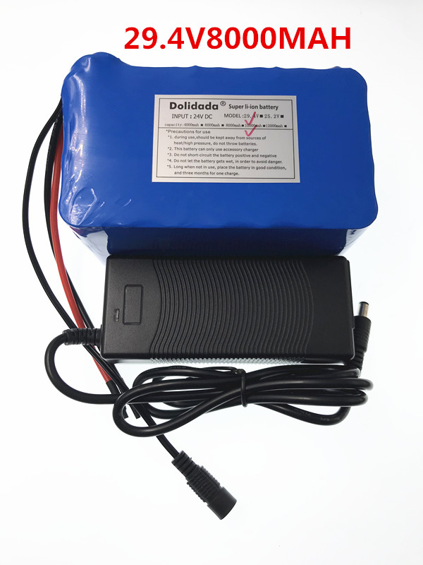 Dolidada 29.4V 8000 mah 18650 Battery lithium battery 29.4v Electric Bicycle moped electriclithium ion battery pack+Charger