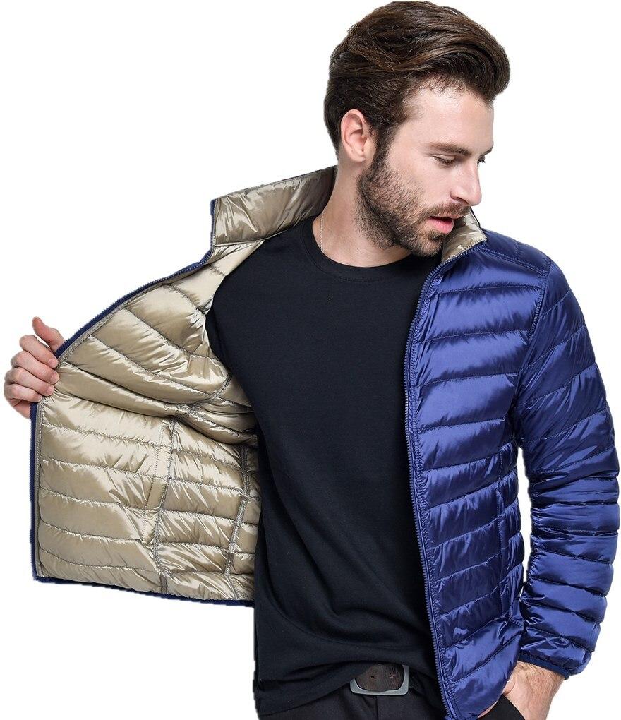 Новинка 2017 года ультра легкий утка Подпушка куртка Для мужчин Перо мужские зимние Double Side Реверсивный парка Пальто для будущих мам плюс Размеры