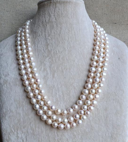 100% bijoux en perles naturelles, collier de perles longues de 61 pouces, perles de couleur blanche, perles de mariage, bijoux de demoiselle d'honneur pour femme
