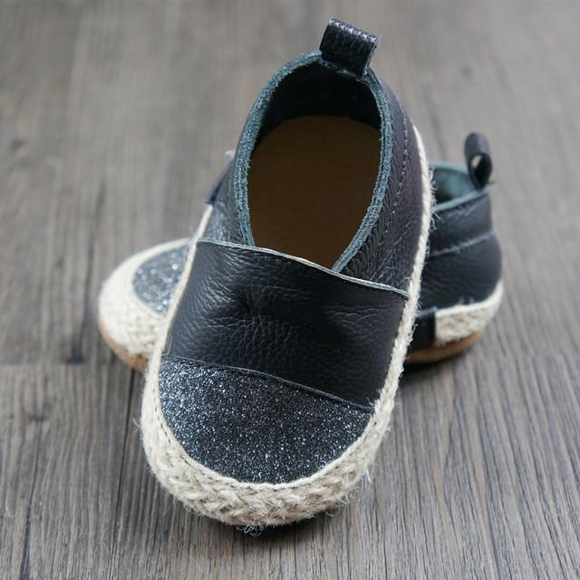 Nova tecelagem Da Criança do bebê Primeiros Caminhantes sapatos de bebê de couro Genuíno mocassins de bling do menino e meninas Sapatos 11.5-14.5 cm frete grátis