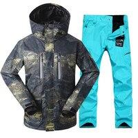 GSOU снег новый мужской лыжный костюм ветрозащитная Теплая Лыжная куртка лыжные штаны для Для мужчин зимние Водонепроницаемый дышащий Лыжны