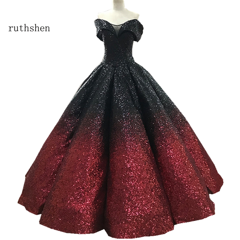 Robe De bal magnifique en or ruthéshen De luxe robes De Quinceanera brillantes hors De l'épaule Vestidos De 15 robe De Debutante seize douce