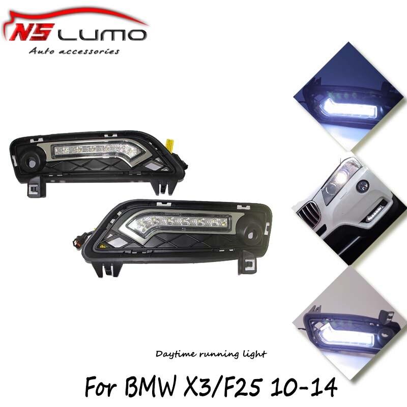 Auto parking Fog light 12V 12W super bright led daytime running light drl For BMW X3 F25 2010- 2014 6 leds c ree цена