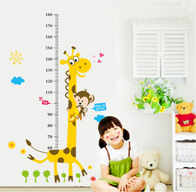 Free Shipping Giraffe Height Wall Sticker Wall Mural Home Decor Kids Bedroom Decals Removable Decorative Animal Wall Sticker