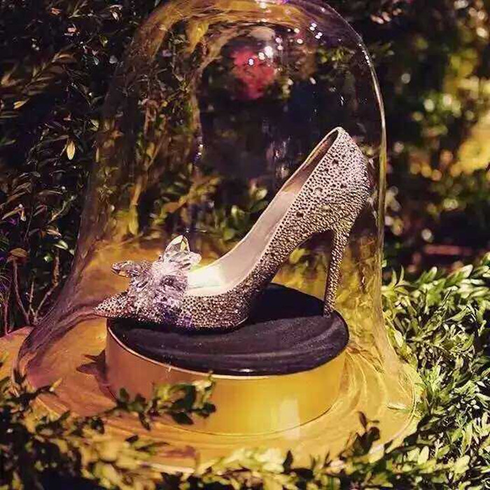 Celebrity Top Grade Cinderella Women Crystal High Heels Bridal Rhinestone Wedding Shoes Sexy Pointed Toe Crystal Flower Pumps in Women 39 s Pumps from Shoes