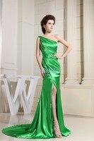 Gratis verzending 2018 floor lengte formele nieuwe ontwerp bruidenmeisje kralen een shouler groene lange open been bruidsmeisjekleding