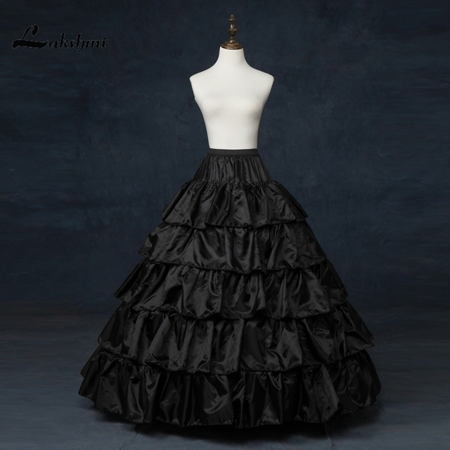 Stock 5 Layers Black Petticoat with Ruffles Ball Gown 4 Hoops Crinoline for Wedding Dresses Jupon Mariage