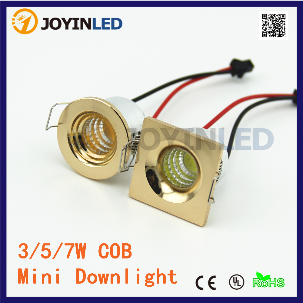 10pcs/lot 3W Round LED Cabinet Light Gold Color MINI COB Jewelry Downlight Lamps + Driver
