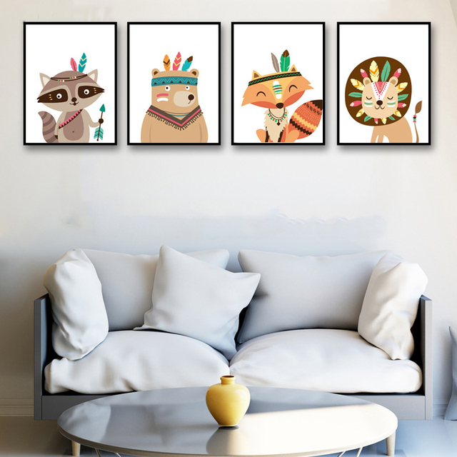 Wild Animals – Wall Art Canvas for Kids Room