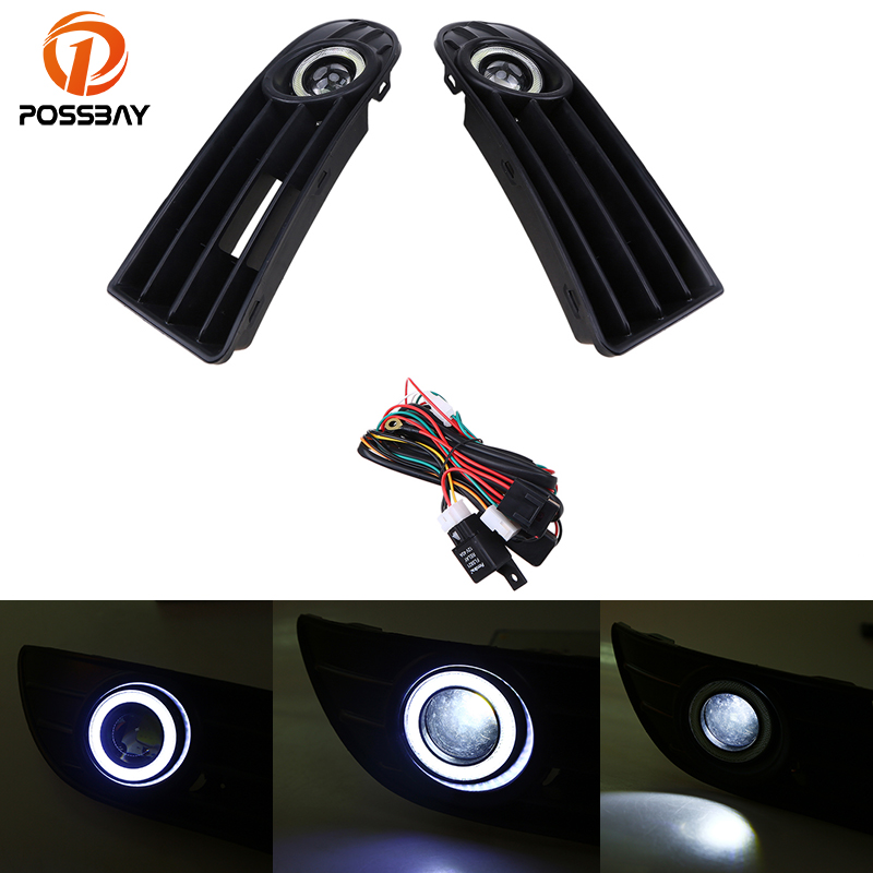 POSSBAY Front Bumper Grille Driving White Light Convex Lens Fog Lights LED Daylight for VW Polo MK4 9N3 2005-2009 Facelift for opel astra h gtc 2005 15 h11 wiring harness sockets wire connector switch 2 fog lights drl front bumper 5d lens led lamp