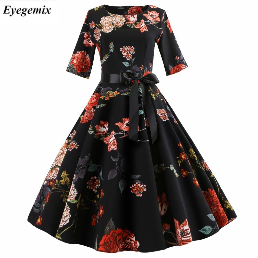 Floral Print Vintage Dress Women 2019 Half Sleeve Elegant Party Dress Autumn Winter Female Casual A-Line Dress Tunic Plus Size