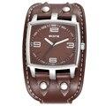 Diseño grande del dial relojes hombres marca de lujo skone cuadrado banda de cuero reloj de cuarzo de los hombres del deporte militar reloj reloj masculino hombre