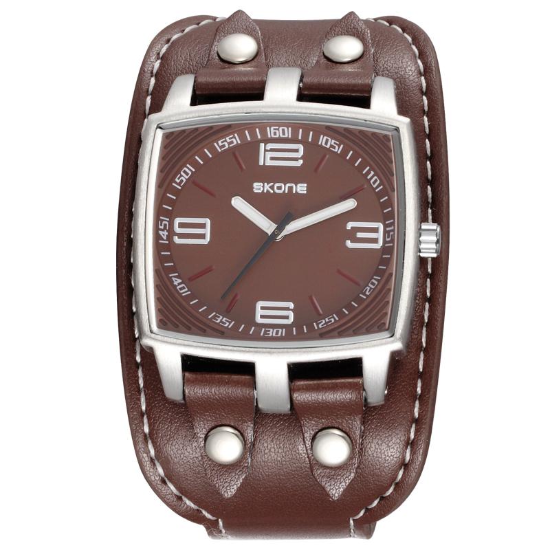 Prix pour SKONE Grand Design du Cadran Montres Hommes Marque De Luxe Carré Bande de Cuir de Quartz Montre Hommes Sport Militaire Horloge Mâle reloj hombre