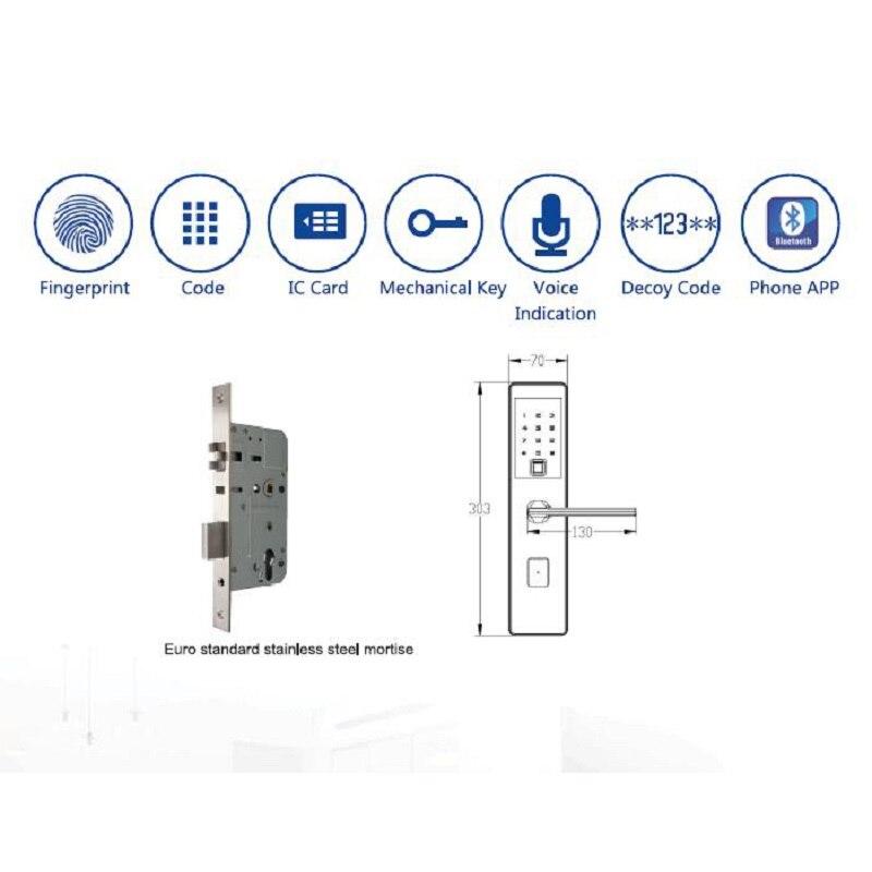 Купить с кэшбэком 2018 Biometric Fingerprint Electronic Smart Lock, APP,Code, Touch Screen Digital Password Lock Key lk025FB