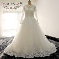 Rose Moda Langen Ärmeln V-ausschnitt Prinzessin Spitze Hochzeitskleid mit Illusion Herzform Zurück Ballkleid
