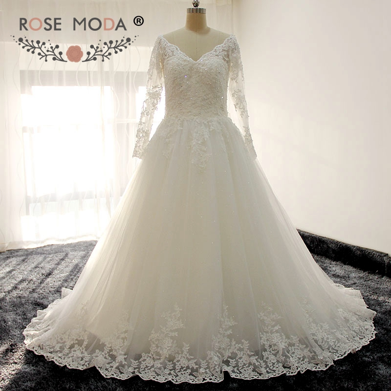 Rose Moda Long Sleeves V Neck Princess Lace Wedding Dress with Illusion Heart Shape Back Ball Gown