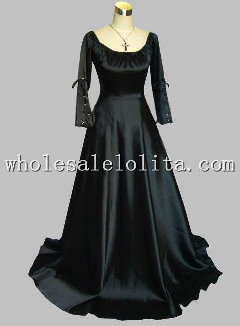 Freeshipping Black Long Sleeve Lace Dress Gothic Black Thick Silk-like Scoop Neck Long Sleeve Victorian Era Dress