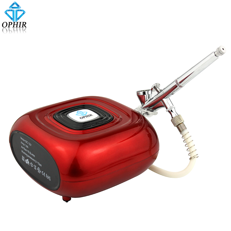 OPHIR Professional Makeup Airbrush Kit With Red Air Compressor 0.2mm Airbrush Sprayer For Makeup Nail Art Tanning_AC123R+AC073