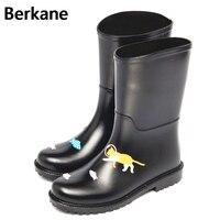 พีวีซีรองเท้าฝนผู้หญิงกันน้ำการ์ตูนแมวGummistiefelยางข้อ