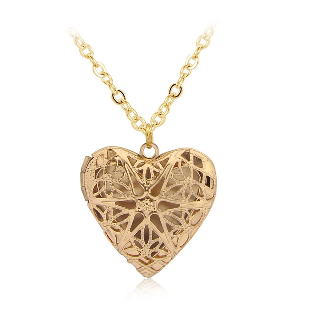 Vintage Love Heart Pendant DIY Secret Message Locket Necklace Openable Hollow