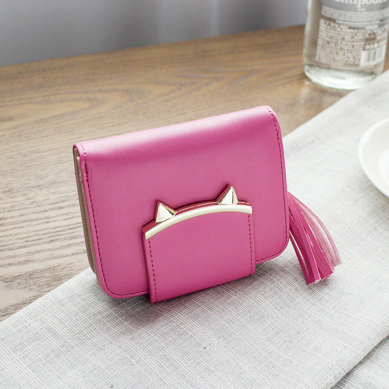 Cute Cat Ears Leather Vintage Tassel Women Wallet Luxury Brand Short Mini Wallets And Purses For Credit Cards portefeuille femme