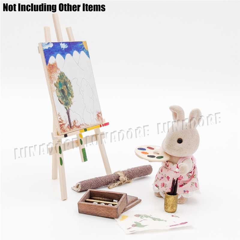 Odoria 1:12 Miniature Easel Painting and Tools Set Pigment