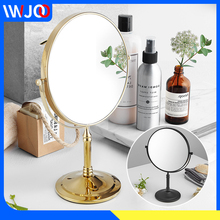 Makeup Mirror Stainless Steel Double Side Cosmetic Mirror Magnification Desktop Rotating Standing Dressing Table Mirror Gold цена